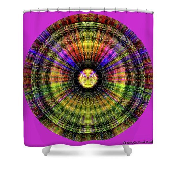 Shower Curtain featuring the digital art Glow Wheel Three by Visual Artist Frank Bonilla