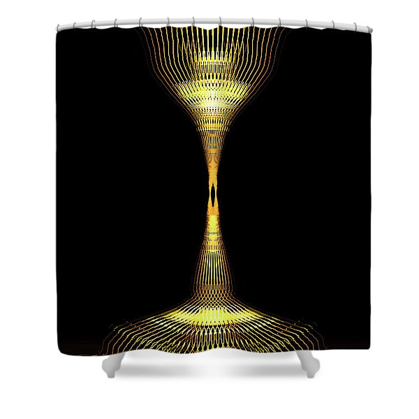 Glowing Brass Lamp Stand Shower Curtain