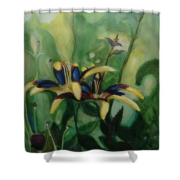 Glowing Flora Shower Curtain