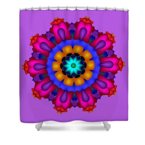 Glowing Fractal Flower Shower Curtain