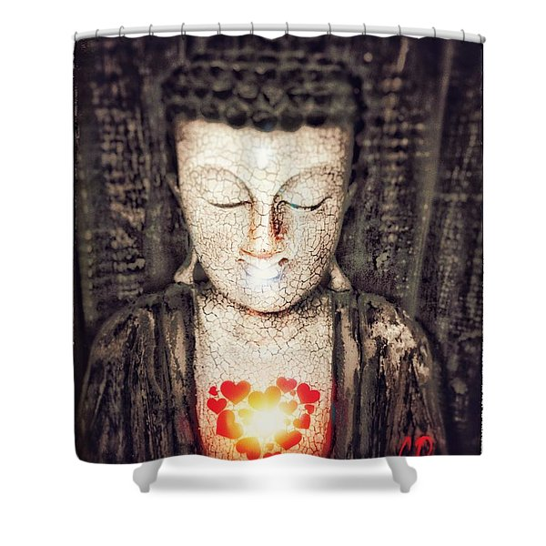 Glowing Heart Shower Curtain
