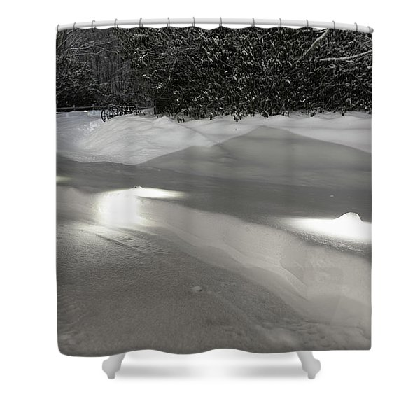Glowing Landscape Lighting Shower Curtain