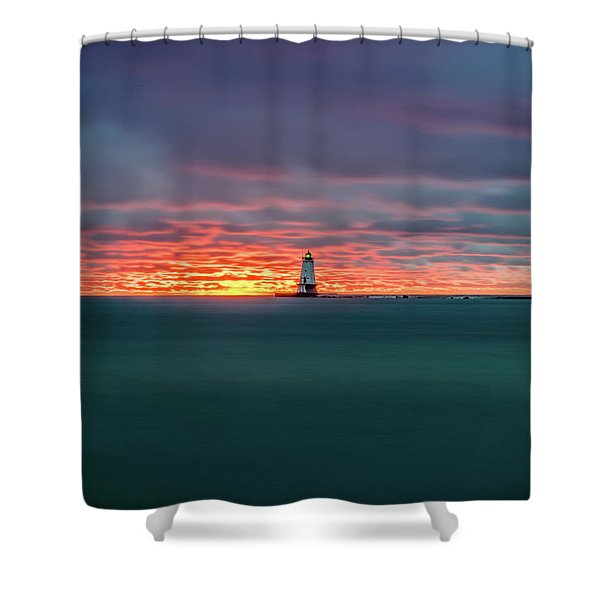 Shower Curtain featuring the photograph Glowing Sunset On Lake With Lighthouse by Lester Plank