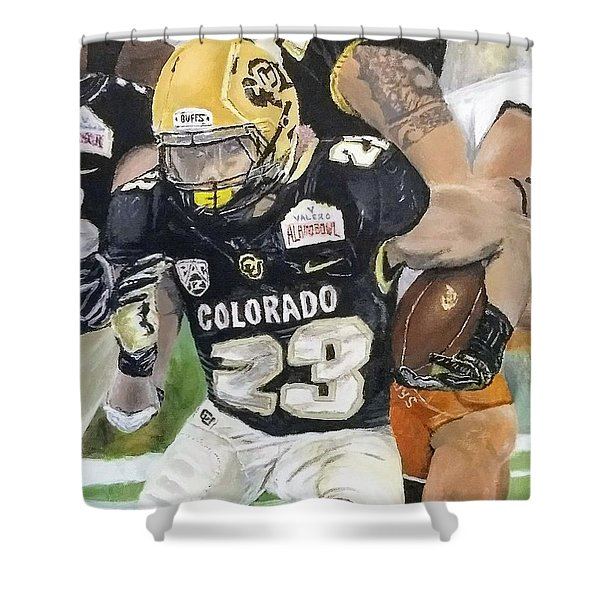 Shower Curtain featuring the painting Go Buffs by Kevin Daly