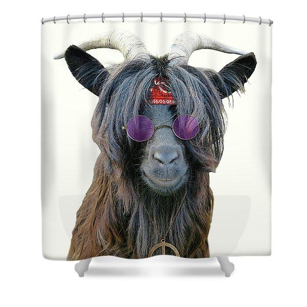 Goat Hippie Red Bandana Americana Shower Curtain