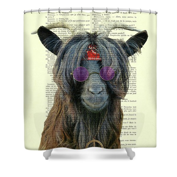 Goat In Hippie Clothes With Purple Glasses And Peace Necklace Shower Curtain