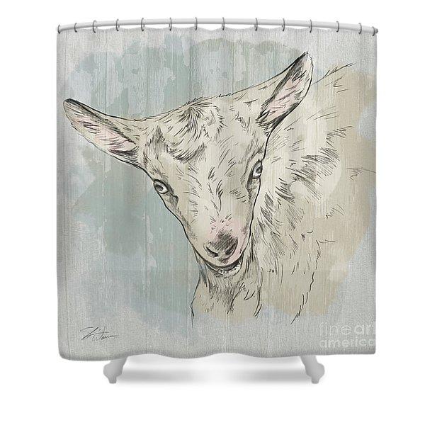 Goat Portrait-farm Animals Shower Curtain