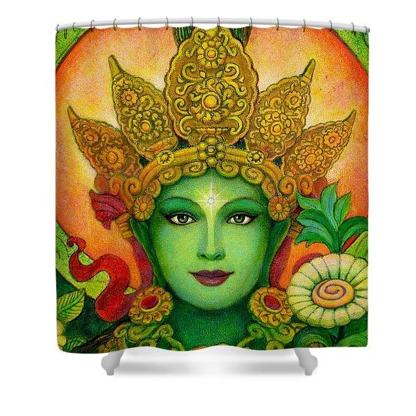 Goddess Green Tara's Face Shower Curtain