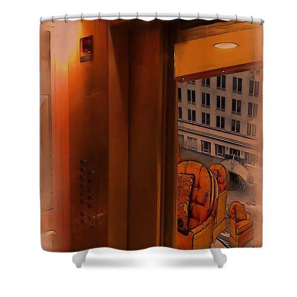 Shower Curtain featuring the digital art Going Down? by Tristan Armstrong