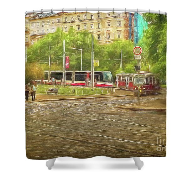 Going Slowly Round The Bend Shower Curtain