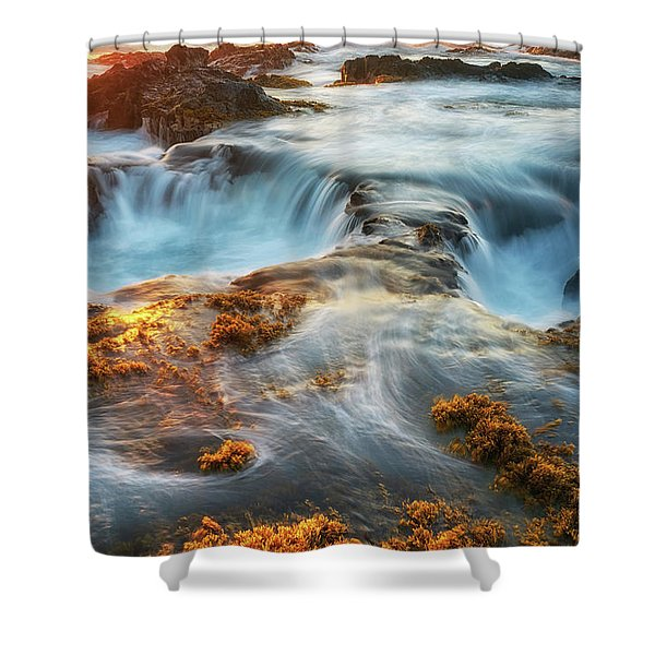 Gold And Blue Shower Curtain