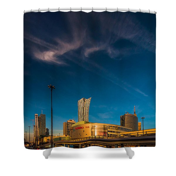 Gold And Blue City Shower Curtain