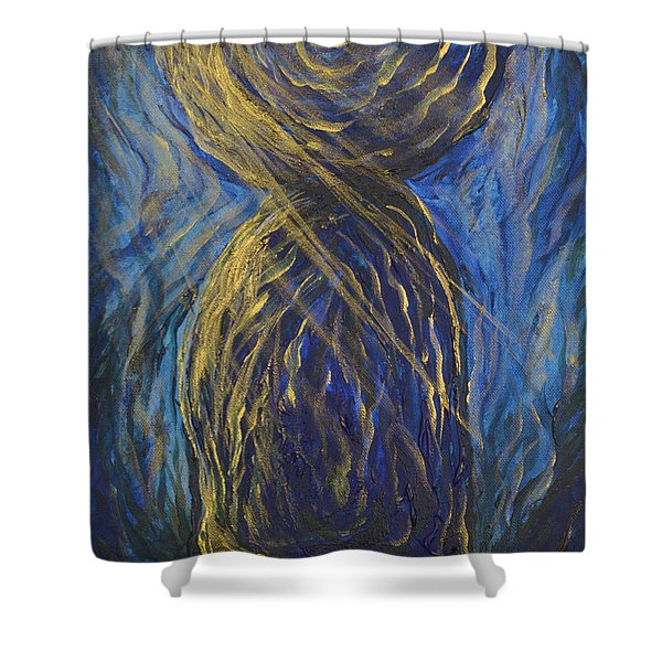 Gold And Blue Latte Stone Shower Curtain