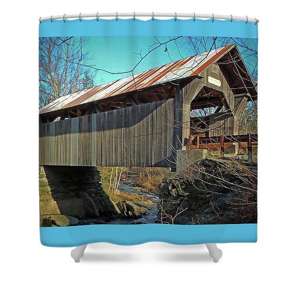 Gold Brook Bridge Shower Curtain