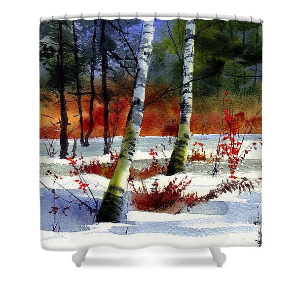 Gold Bushes Watercolor Shower Curtain
