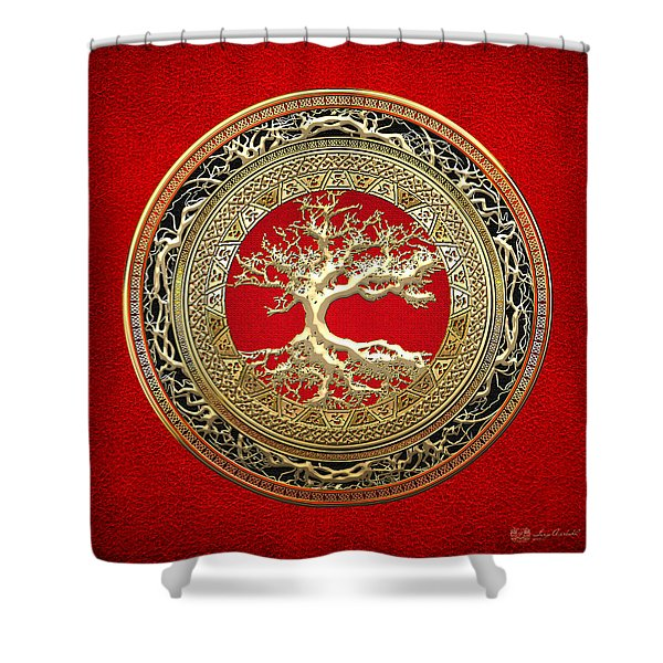 Gold Celtic Tree Of Life On Red Shower Curtain