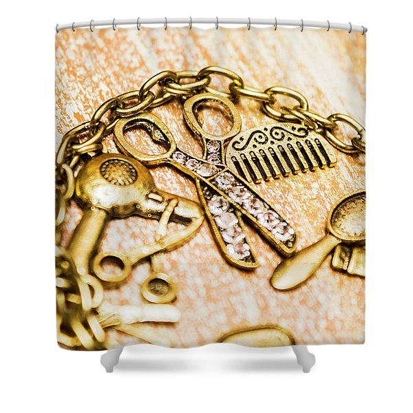 Gold Class Hair Styling Background Shower Curtain
