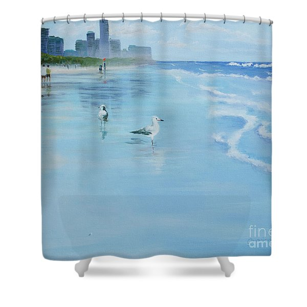 Shower Curtain featuring the painting Gold Coast Australia, by Genevieve Brown