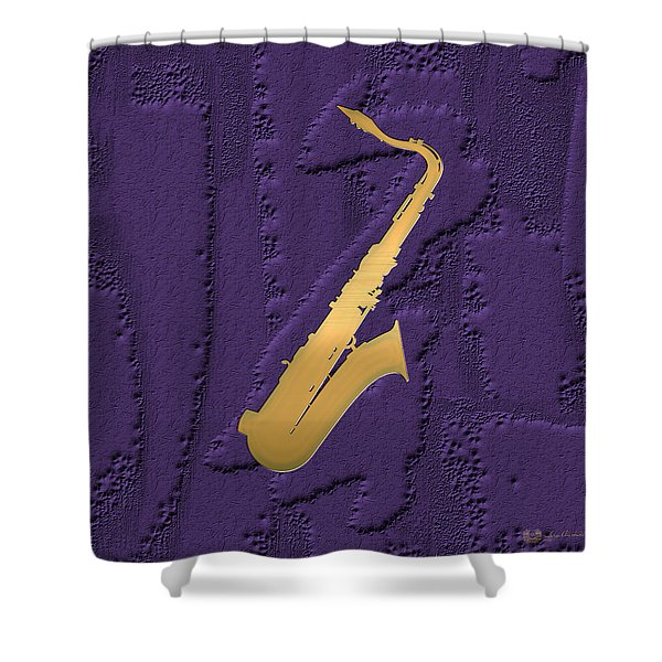 Gold Embossed Saxophone On Purple  Shower Curtain