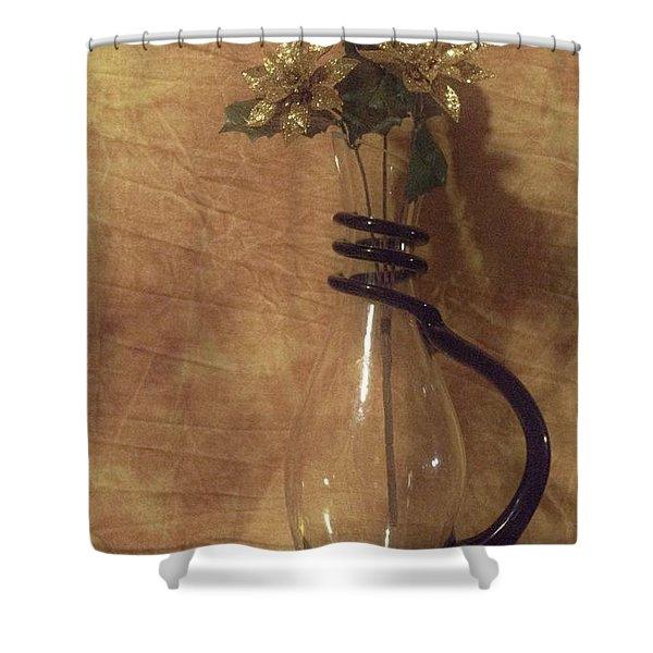 Gold Flower Vase Shower Curtain