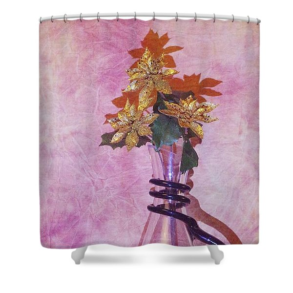 Gold Flowers Pink Background Shower Curtain