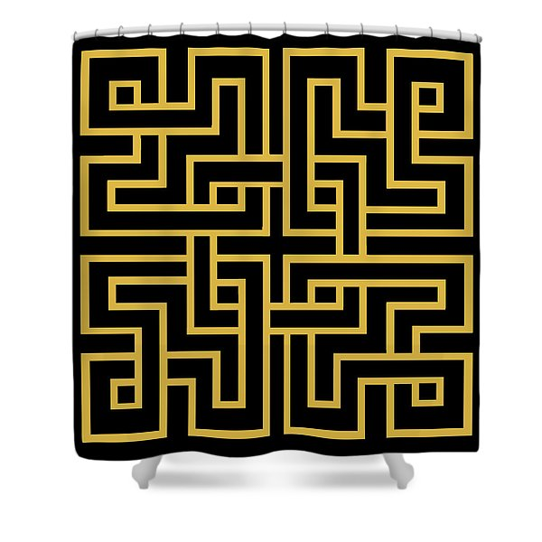 Gold Geo 6 Shower Curtain