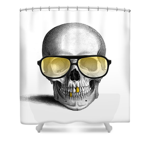 Skull With Gold Teeth And Sunglasses Shower Curtain