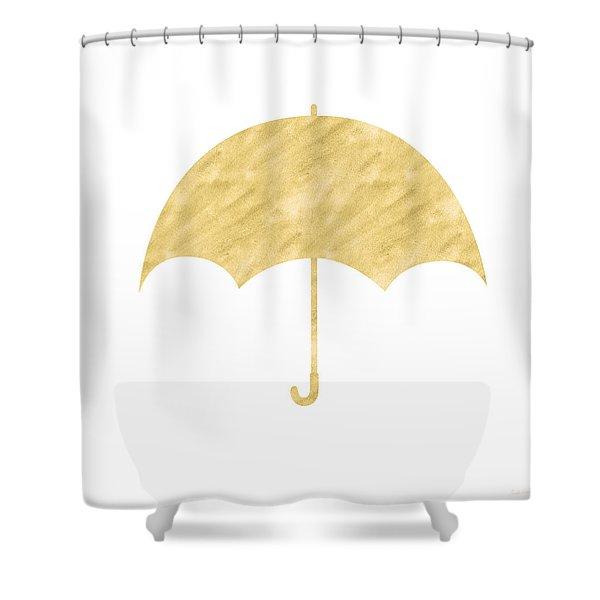 Gold Umbrella- Art By Linda Woods Shower Curtain