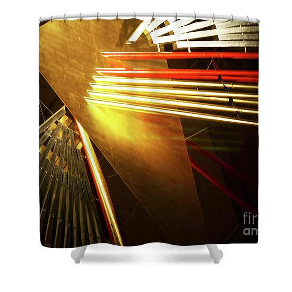 Golden Abstract Shower Curtain