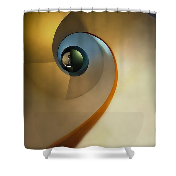 Shower Curtain featuring the photograph Golden And Brown Spiral Staircase by Jaroslaw Blaminsky