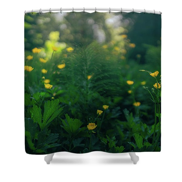 Golden Blooms Shower Curtain