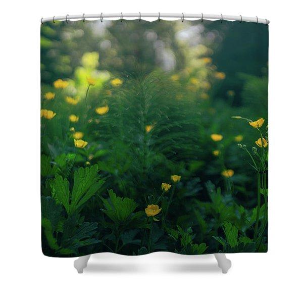 Golden Blooms Shower Curtain