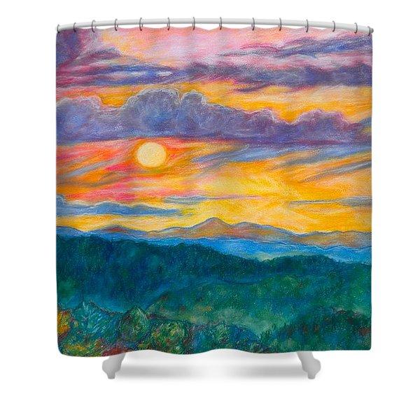 Golden Blue Ridge Sunset Shower Curtain