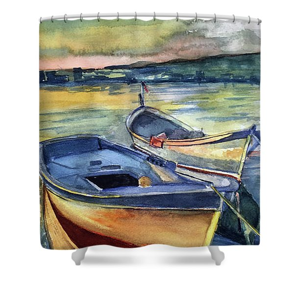 Golden Boats Shower Curtain
