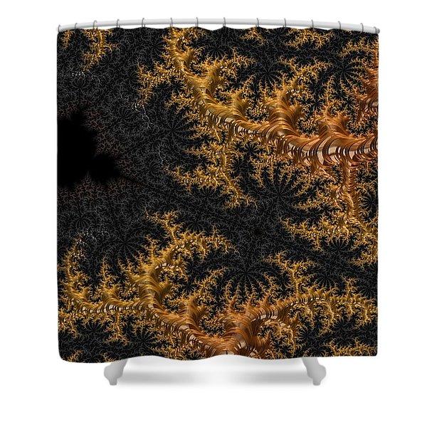 Golden Branching Moss Shower Curtain