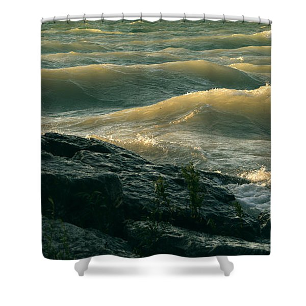 Golden Capped Sunset Waves Of Lake Michigan Shower Curtain