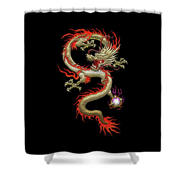 Golden Chinese Dragon Fucanglong On Black Silk Shower Curtain