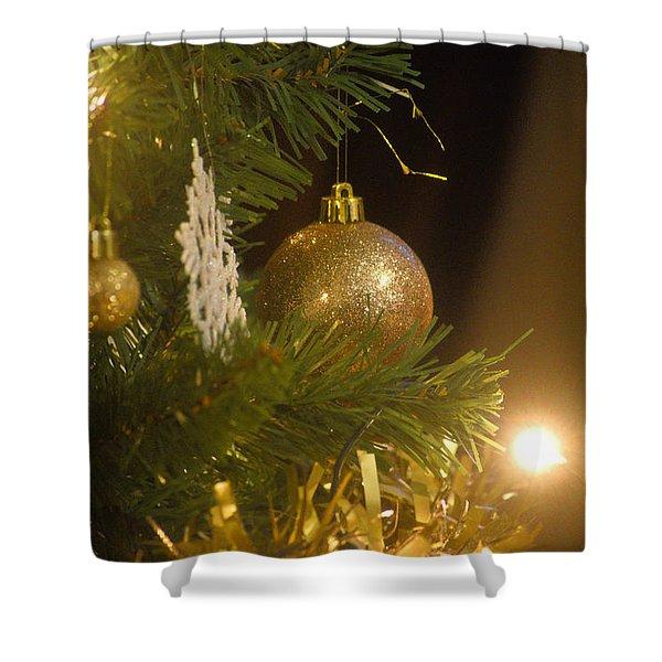Golden Christmas Shower Curtain