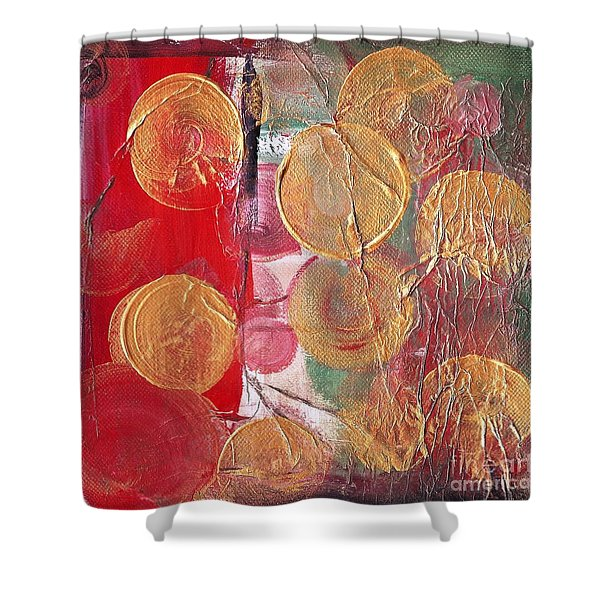 Golden Circles On Red And Green Shower Curtain