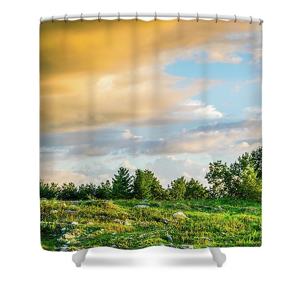 Shower Curtain featuring the photograph Golden Clouds by Lester Plank