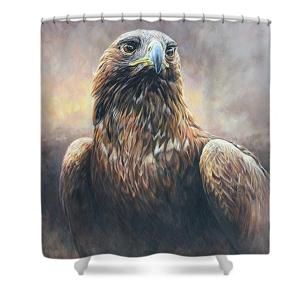 Shower Curtain featuring the painting Golden Eagle Portrait by Alan M Hunt