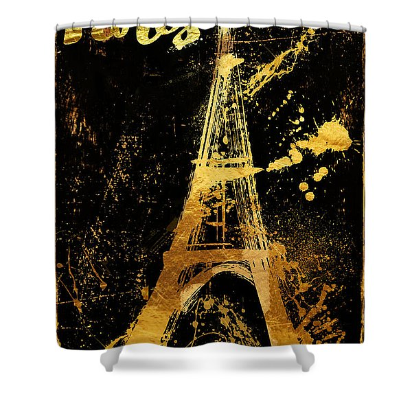Golden Eiffel Tower Paris Shower Curtain