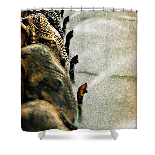 Golden Elephant Fountain Shower Curtain