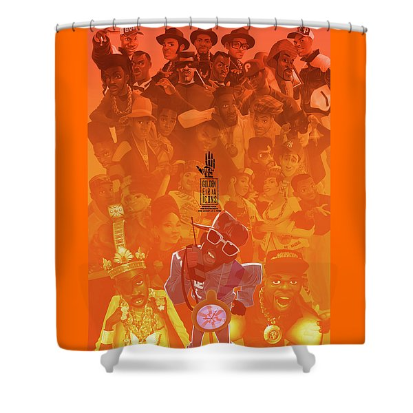 Shower Curtain featuring the digital art Golden Era Icons Collage 1 by Nelson dedos Garcia