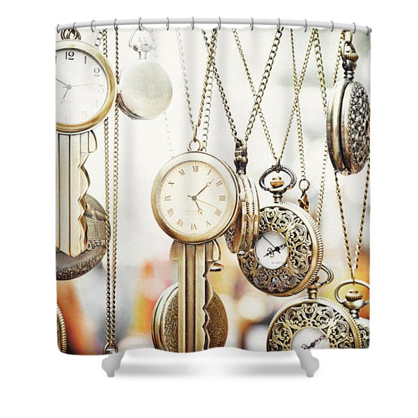 Golden Faces Of Time Shower Curtain