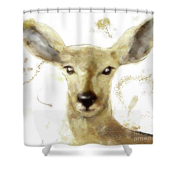 Golden Forest Deer Shower Curtain