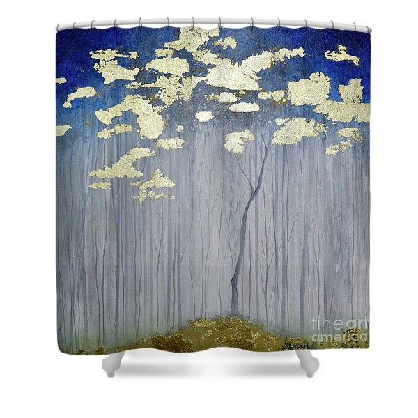 Shower Curtain featuring the painting Golden Forest by Mary Scott