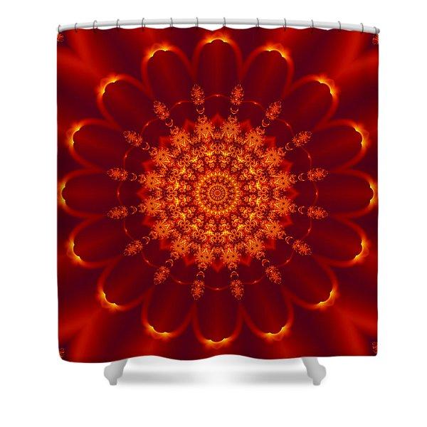 Golden Fractal Mandala Daisy Shower Curtain