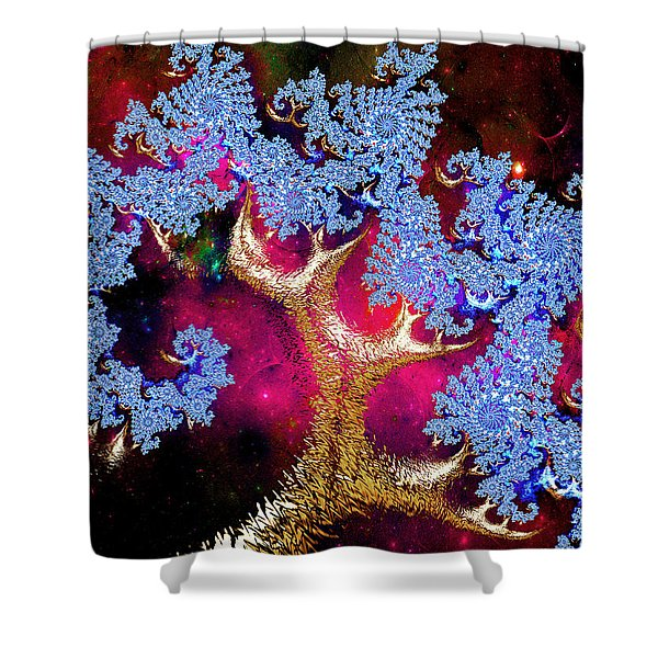 Golden Fractal Tree Shower Curtain
