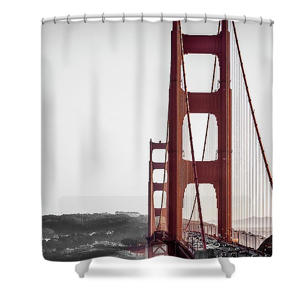 Golden Gate Black And Red Shower Curtain